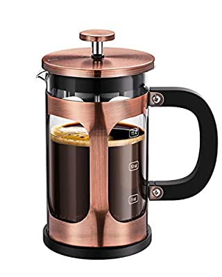 BAYKA French Press Coffee Tea Maker, 304 Stainless Steel Coffee Press with 4 Level Filtration System, Heat Resistant Thickened Borosilicate Glass, 21 Ounce, Copper