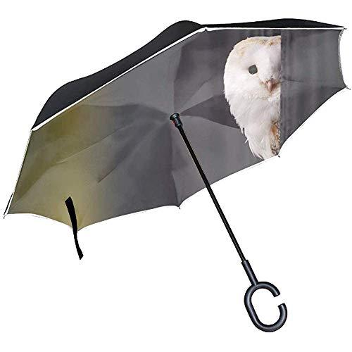 Grote paraplu, omgekeerd, winddicht, uv-bescherming, vorm C, handvat voor vrije handen, voor auto, regen, zon