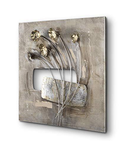 mosa designs Moderne Wanddekoration Metall Wanddeko Blumen Handgefertigte Dekoration Wohnzimmer Schlafzimmer Schlafzimmer 60 x 60 cm Silber Gold