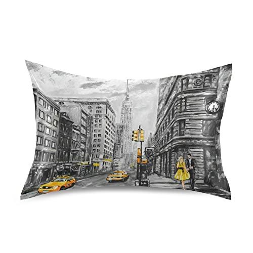 HMZXZ Funda de almohada de satén para cabello y piel, diseño de taxi de Nueva York, tamaño king de 50,8 x 101,6 cm, con cierre de sobre, para sofá, cama, casa