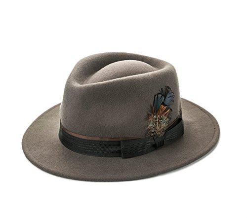 Insun Insun Herren Hut Fedora Hut Panamahüte Wollfilz Trilby mit Feder Wintermütze Khaki