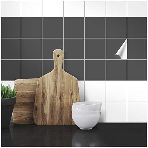 Wandkings Fliesenaufkleber - Wähle eine Farbe & Größe - Dunkelgrau Seidenmatt - 9,5 x 9,5 cm - 100 Stück für Fliesen in Küche, Bad & mehr