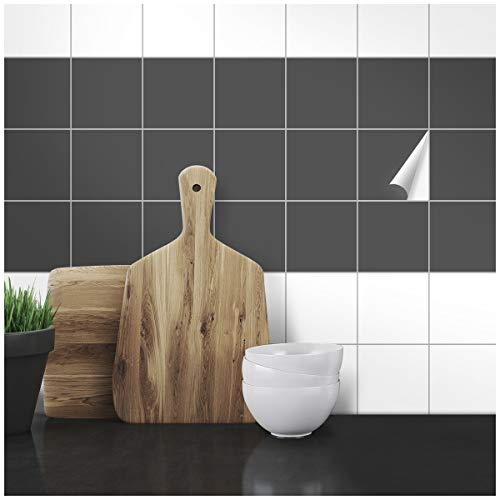 Wandkings Fliesenaufkleber - Wähle eine Farbe & Größe - Dunkelgrau Seidenmatt - 10 x 10 cm - 100 Stück für Fliesen in Küche, Bad & mehr