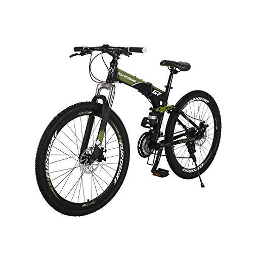 Mountain Bike G7 Telaio In Acciaio Pieghevole Mountain Bike Full_ Sospensione 21 Velocità Doppio Freno A Disco 27,5 Pollici Mountain Bike (Verde Milito)