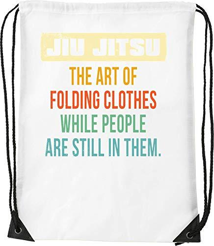 Jiu Jitsu Art of Folding Clothes While People Are Bolsa con cordón Saco Senderismo Gimnasio