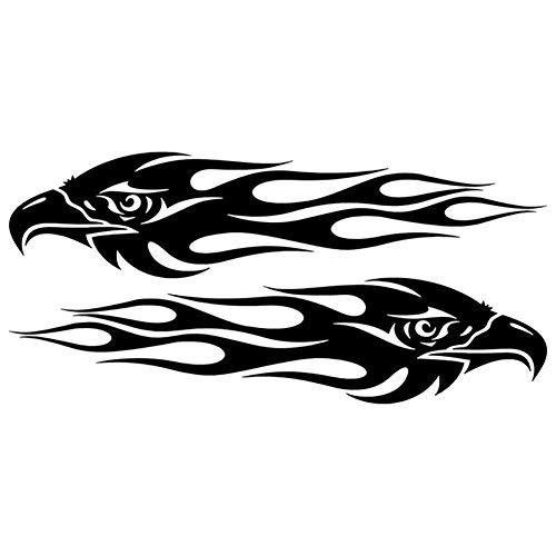 Benoon 2 Stück Adler Flamme Design Auto Fahrzeug Motorrad Reflektierende Aufkleber Dekoration Schwarz
