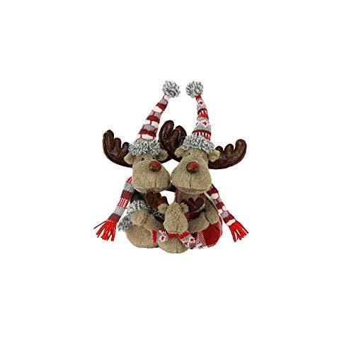 Weihnachtsfigur Elchpärchen sitzend 27 cm groß Weihnachtsdeko Elch Xmas Figur Dekofigur für Weihnachten Weihnachtselch Elchfigur Dekoelch