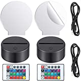 Round Clear Acrylic Sheets and 3D Night LED Light Lamp Bases with Remote Controls and Charging Cables, Acrylic Lamp Base Set for Bedroom Living Room Bar Cafe (Black Base)