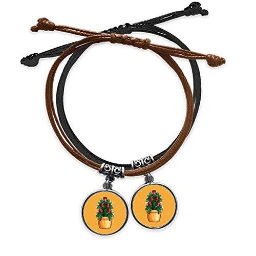 OFFbb-USA Potted Rose Cartoon Art Deco Gift Fashion Bracelet Double Leather Rope Wristband Couple Set Gift -  x10108703b10052313f232508
