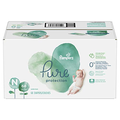 Pampers Pure Disposable Baby Diapers, Hypoallergenic and Fragrance Free Protection, Newborn Size N (< 10 lb), 68 Count, SUPER
