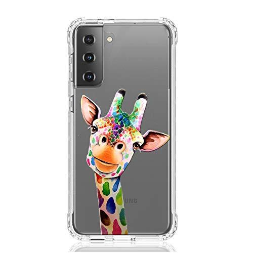 HUIYCUU Compatible with Galaxy S21 6.2' Case,Shockproof Anti-Slip Cute Rose Animal Print Clear Design Pattern Funny Slim Crystal Soft Bumper Kid Girl Women Cover Case for Samsung Galaxy S21,Giraffe