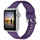 Moolia Sport Band Compatible with Apple Watch Bands 38mm 40mm for Women , Soft Silicone Narrow Slim Replacet Sport Wristbands for iWatch Series 6 5 4 3 2 1 SE , Deep Purple, L