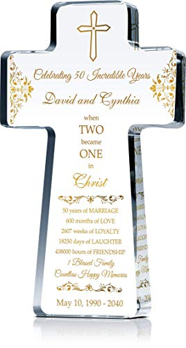 """Personalized Christian Gift for 50 Year Wedding Anniversary, Crystal Standing Cross Customized with Couple Names and Religious Anniversary Wishes in Gold, Traditional 50th Anniversary Color (L - 10"""")"""