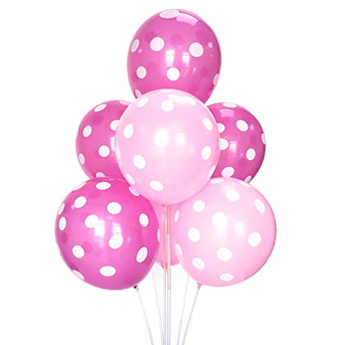 100 PCS Pink Polka Dot Latex Balloons 12 Inches Party Balloons Decorations for Birthday Baby Shower Wedding Supplies by ADIDO EVA