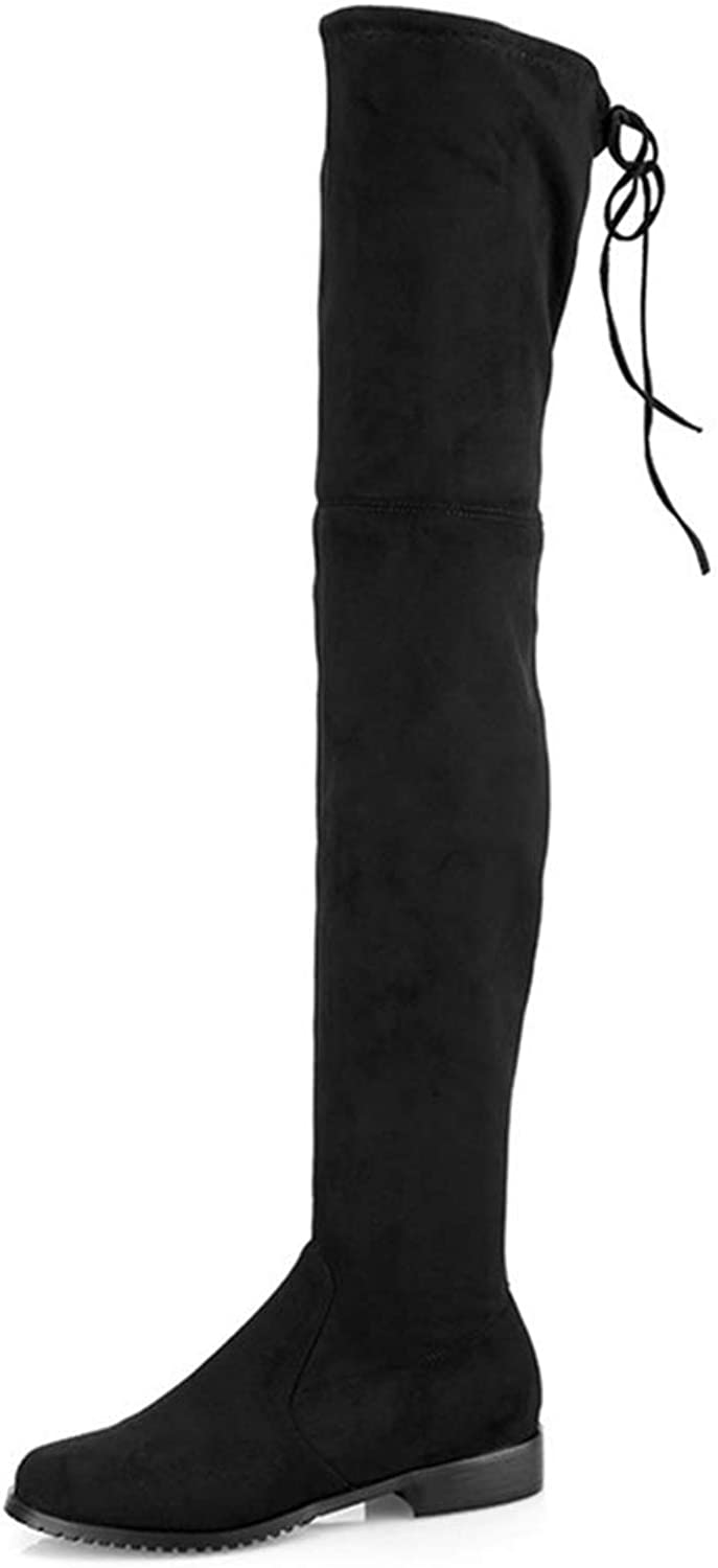 Women Lace-up Boots Stretch Faux Suede Over The Knee Boots Flat Thigh High Boots Ladies Long shoes
