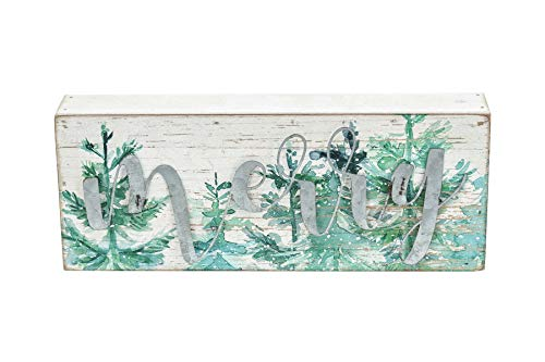 Mini Christmas Wood Box Sign with Galvanized Metal Letters- Merry, Farmhouse Rustic Christmas Holiday Decorations for Table Desk Counter Shelf Fireplace Mantel, 9' W x 1-3/4'D x 3-1/2'H