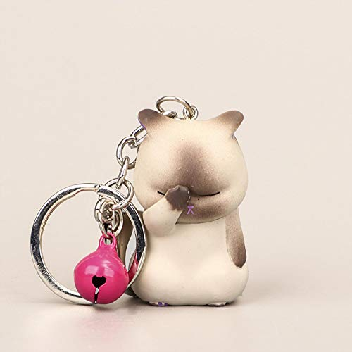 shenlanyu Llavero Lindo tímido Gato llaveros Regordeta Gatito Llavero Bolsa de ataúd Ornamento Ornamento Organizador de Moda joyería Animal Mujeres Accesorios
