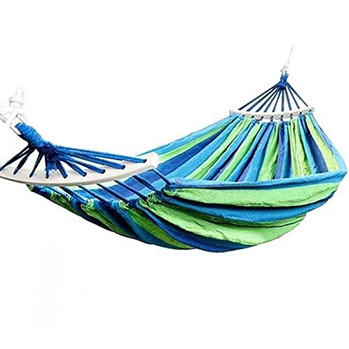 Hwcpadkj Hamaca Colgante de jardín, Camping, Senderismo y Actividades al Aire Individual Anti-vuelco Columpio de Dormitorio Rayas de arcoíris de Lona,Azul,260 * 80cm