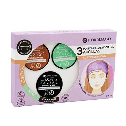 Set de 3 Mascarillas Faciales con Turbante de Regalo: Arcilla Roja Antioxidante, Verde Detox y Negra con Carbón Activo Purificante, Contra Impurezas, Puntos Negros, Hidrata y Nutre - Pack 3