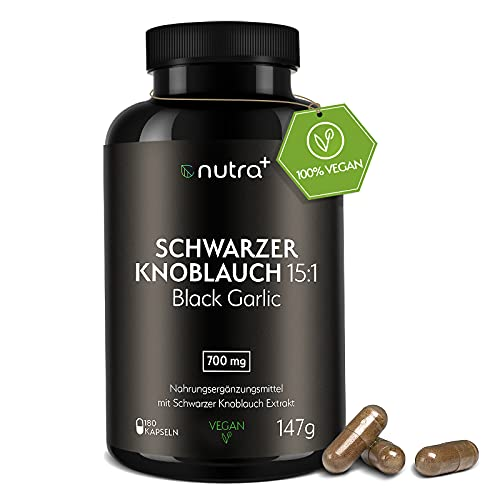 NutraPlus Schwarzer Knoblauch Kapseln Extrakt 15:1 - 180 Vegane Kapseln Hochdosiert mit 700mg Tagesdosierung - Deutsche Qualität - Black Garlic - Fermentiert - Laborgeprüft