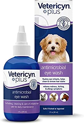 Vetericyn Plus All Animal Eye Wash. Pain-Free Solution for Abrasions and Irritations. Helps Relieve Pink Eye and Allergy Symptoms, and Part of Regular Eye Care for Dogs and Cats. 03 Ounce.