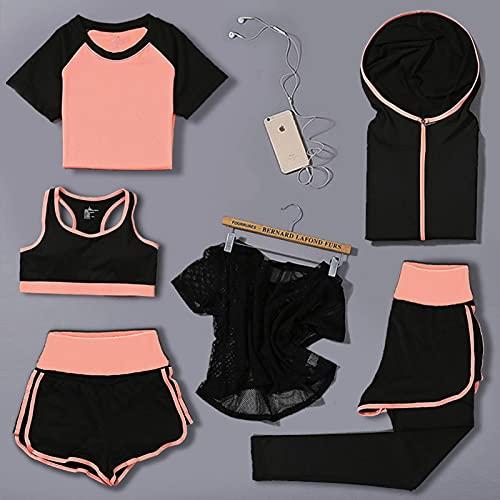 Sportkleding voor dames, trainingspakken, hardloopkleding, top- en broekpakken, dunne dameskleding, sneldrogende hardloopkleding, yogakleding, 6-delige pakken met hoge taille