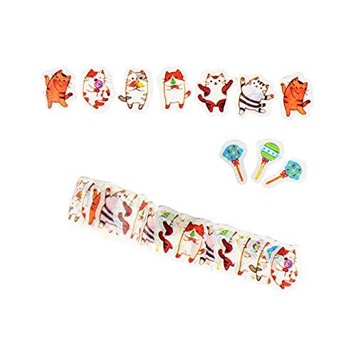 CAOLATOR Washi Tape Katzen Masking Tape 3D Klebeband Insgesamt 80 Blatt, Dekoband für Scrapbooking DIY Collage Postkarte Geburtstagskarte Dekoration