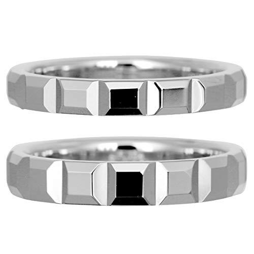 [ココカル]cococaru フルエタニティリング カットデザイン ペアリング 2本セット K10 ホワイトゴールド マリッジリング 結婚指輪 日本製 (レディースサイズ3号 メンズサイズ17号)