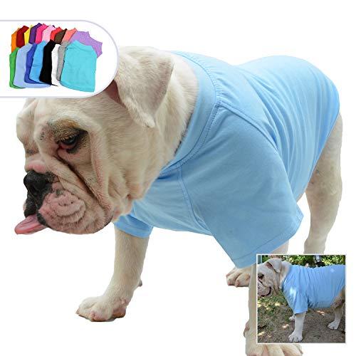 Lovelonglong Bulldog Clothes Dog Clothing Blank T-Shirt Tee Shirts for French Bulldog English Bulldog American Pit Bull Pugs 100% Cotton Skin Care Light-Blue B-XL