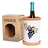 Weinkühler mit Untersetzer | Ø 11.5 cm Höhe 19cm | Flaschenkühler Freezer für Wasser, Wein & Sekt | Freezer | Terrakotta Ton mit Glasur Trauben