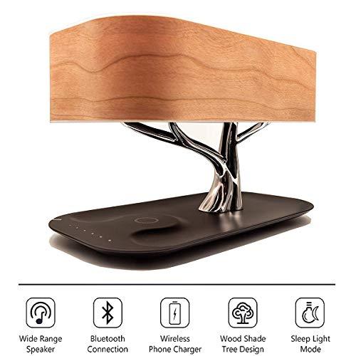 Nachttischlampe mit Bluetooth-Lautsprecher - touch dimmbar - Nachttischleuchte mit Schlafmodus + Wireless Charger - Designer Tischlampe – LED – Tischlampe - Deko Schlafzimmer