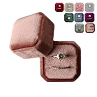 Marble Wolf Velvet Ring Box double slot Vintage Inspired - Octagon Square Ring Box - Perfect for Engagement Bride Wedding Photography - Bridal Gift for Mrs. (Cinnamon Rose)