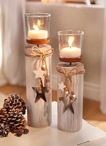 """Dekoleidenschaft 2X Windlichtsäule """"Stern"""" aus Holz und Glas, Teelichthalter im Shabby Look, Kerzenständer, Adventsdeko"""