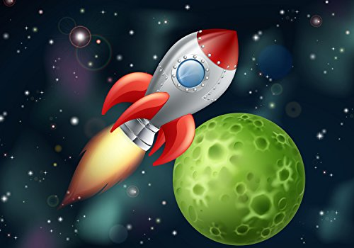 wandmotiv24 Fototapete Kinderzimmer Rakete im Weltall, S 200 x 140cm - 4 Teile, Fototapeten, Wandbild, Motivtapeten, Vlies-Tapeten, Planet, Weltraum-fahrt, spaceship M0432
