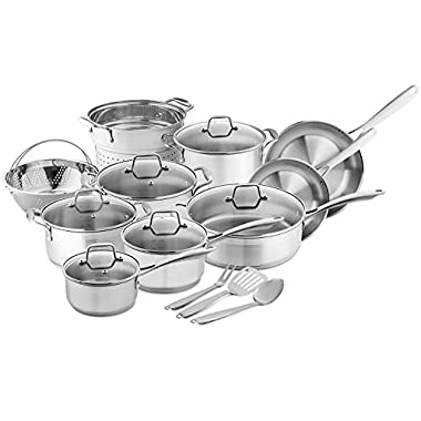 Chef's Star 17-Piece Pots & Pans Stainless Steel - 17 Piece Professional Grade Pots & Pans Set - Non Stick Induction Ready Cookware Set w/Impact Bonded Technology – Toxin Free, Dishwasher Safe