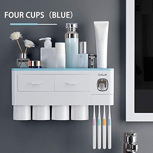 Souarts Tandenborstelhouder voor aan de muur gemonteerde tandenborstelhouder tandenborstels organizer met magnetische beker zonder boren voor de badkamer blauw grijs roze