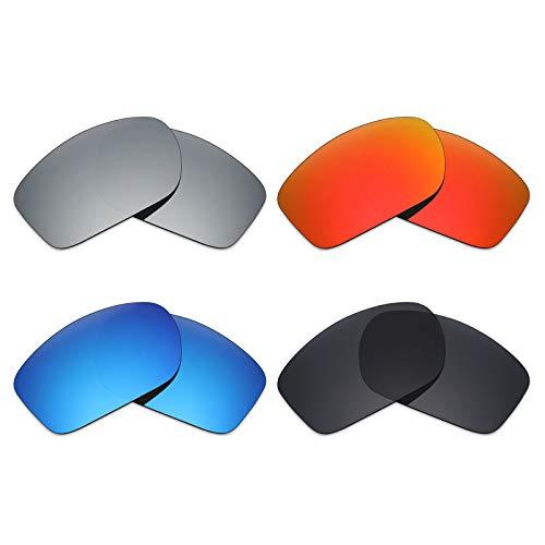 Mryok 4 Paar Gepolariseerde Vervangende Lenzen voor Oakley Klep Nieuw 2014 Zonnebril - Stealth Zwart/Vuur Rood/IJsblauw/Zilver Titanium