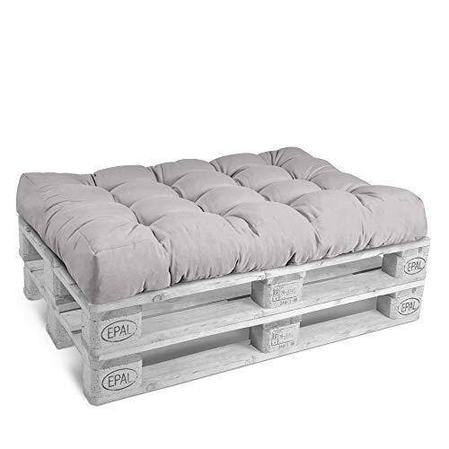 Beautissu Cuscino per bancali di Legno Eco Style -120x80x15 cm-Comoda Seduta per Divano Pallet di Legno- Grigio Chiaro