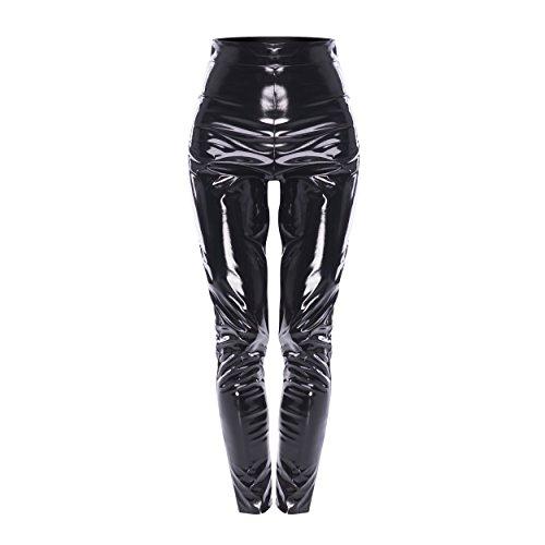 Lack Kunstleder Leggings Latexhose mit High Waist, hoher Bund 12