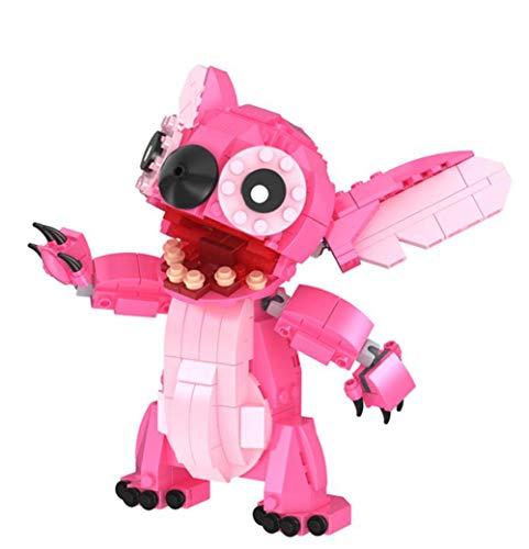 LNLJ Bonitos bloques de dibujos animados de edificios, figuras pedagógicas de ladrillo, modelo, juegos de anime, regalos para niñas bonitas, color rosa