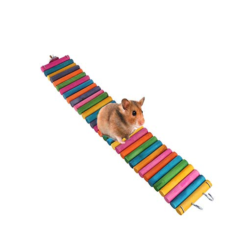 Tfwadmx Hamster Rainbow Bridge, Rat Bridge, 20X2In Flexible Hamster Climbing Ladders, Wood Bridge for Guinea Pig Chinchilla Chipmunk Sugar Glider Gerbil Mice Squirrel