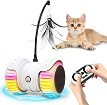 JOEJOY Cat Toys,Cat Feather Toy,Interactive Robotic Cat Toy for Indoor Cats, Automatic Irregular 360 Degree Rotating Balls/Catnip Build-in Colorful Led Light USB Rechargeable and Remote Control