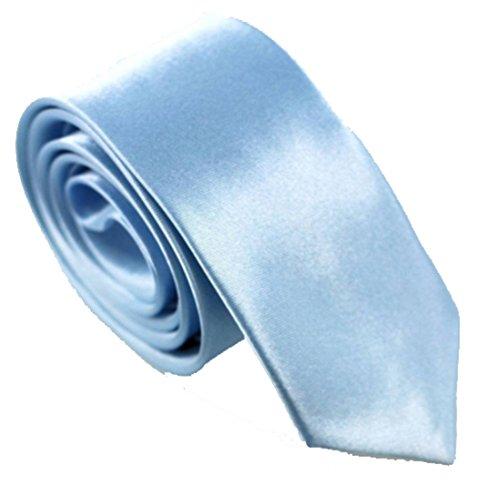 WS schmale dünne KRAWATTE Business Slim Tie Schlips schmal (eisblau)
