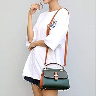 WTYD Single Shoulder Bag Retro Mixed Color PU Leather Single Shoulder Crossbody Bag Ladies Handbag (Black) (Color : Green)