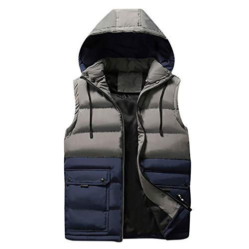 Cotton Vest for Men Outdoor Kstare Men's Casual Basic Winter Stitching with Hooded Elastic Powder Removable Jacket Blue