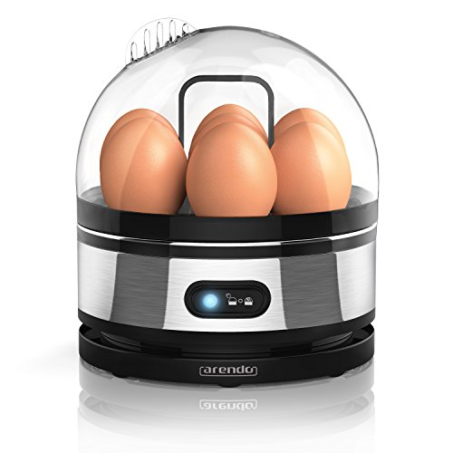 Arendo - Edelstahl Eierkocher mit Warmhaltefunktion - Kipp-Funktionsschalter mit Indikationsleuchte - einstellbarer Härtegrad - Abschrecken von 1-7 Eiern - rostfreier, gebürsteter Edelstahl