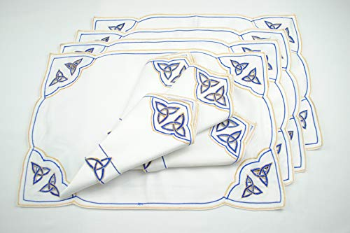 Thanksgiving Holidays Set of 4 Table Place Settings (4 Placemats/4 Napkins) in a Blue Celtic Trinity Knot Design
