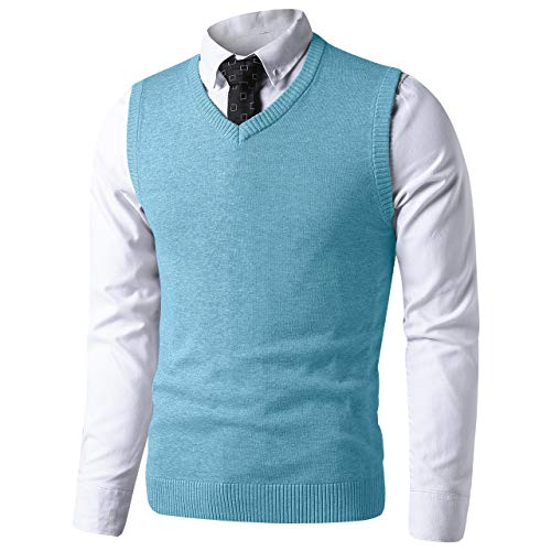 LTIFONE Mens Slim Fit V Neck Sweater Vest Basic Plain Short Sleeve Sweater Pullover Sleeveless Sweaters with Ribbing Edge(Turquoise,L)