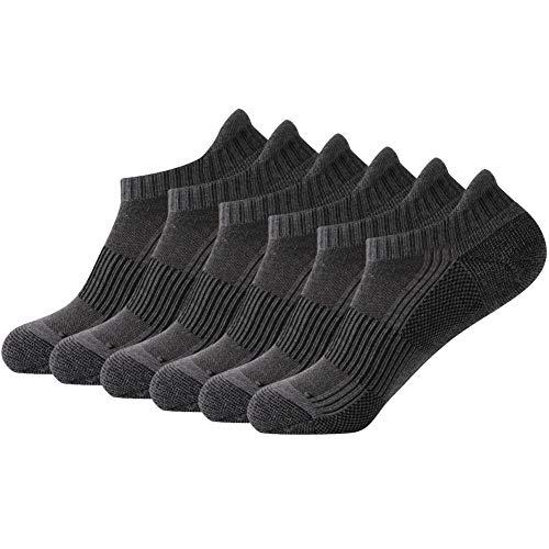 FOOTPLUS Men and Women Low Cut Mesh Arch Support Athletic Running Jogging Hiking Ankle Footies Sleeve Socks, Performance Cushion Socks Boys, 6 Pairs Dark Grey, Large