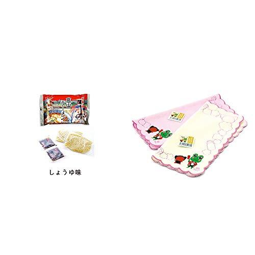 [2点セット] 飛騨高山ラーメン[生麺・スープ付 (しょうゆ味)]・下呂温泉限定 さるぼぼ&げろぐるくん ふわふわタオルハンカチ【ピンク】